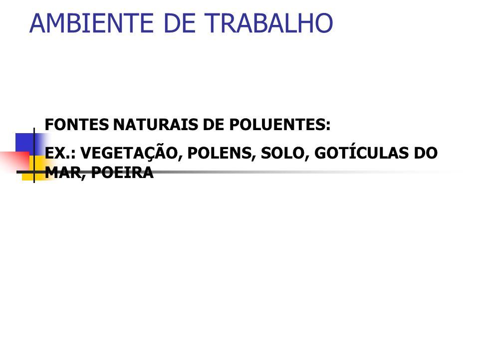 AMBIENTE DE TRABALHO FONTES NATURAIS DE POLUENTES: