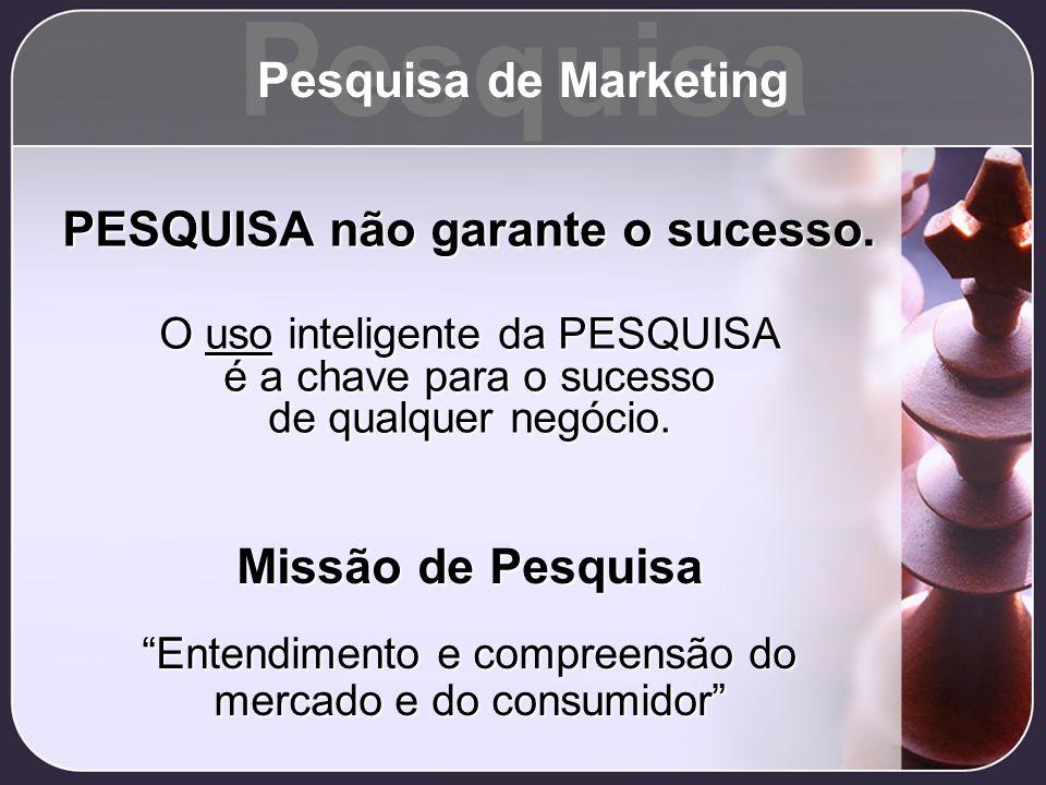Pesquisa Pesquisa de Marketing PESQUISA não garante o sucesso.