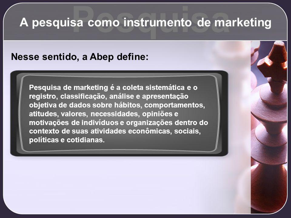 A pesquisa como instrumento de marketing