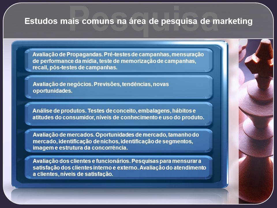 Estudos mais comuns na área de pesquisa de marketing