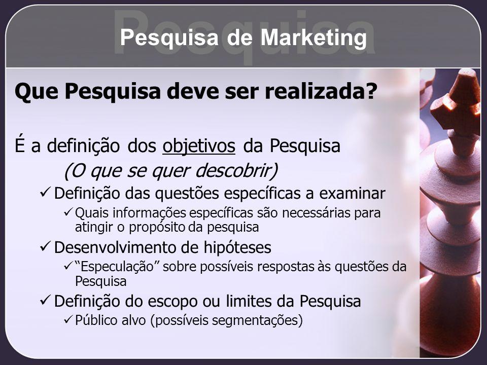 Pesquisa Pesquisa de Marketing Que Pesquisa deve ser realizada