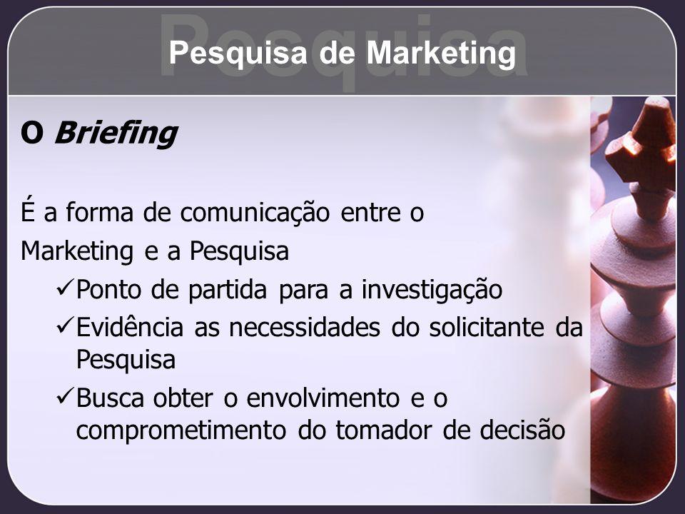 Pesquisa Pesquisa de Marketing O Briefing