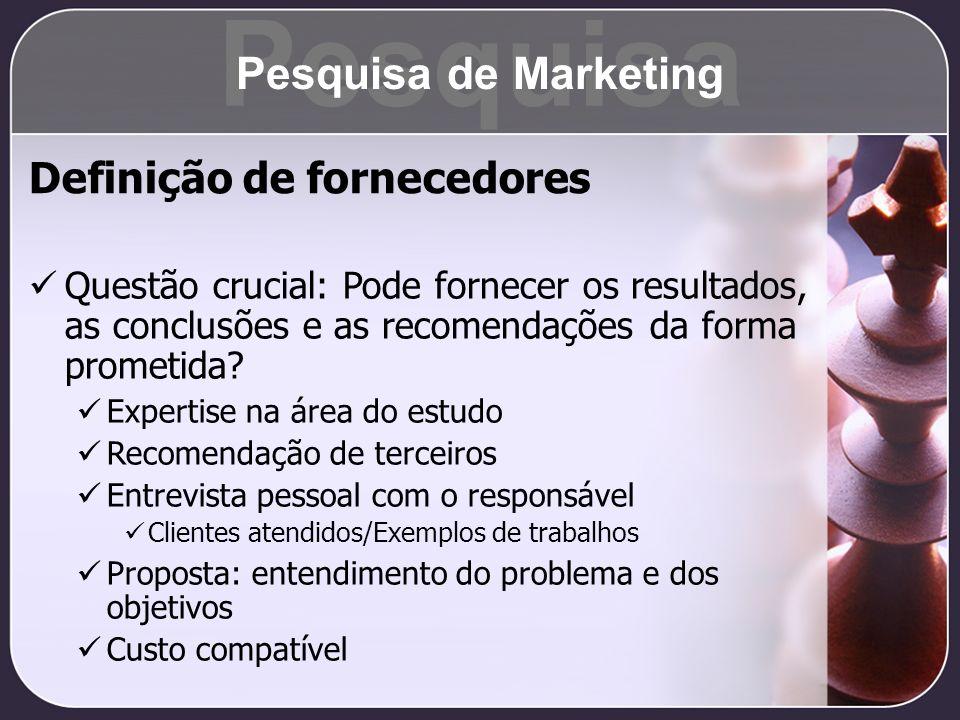 Pesquisa Pesquisa de Marketing Definição de fornecedores