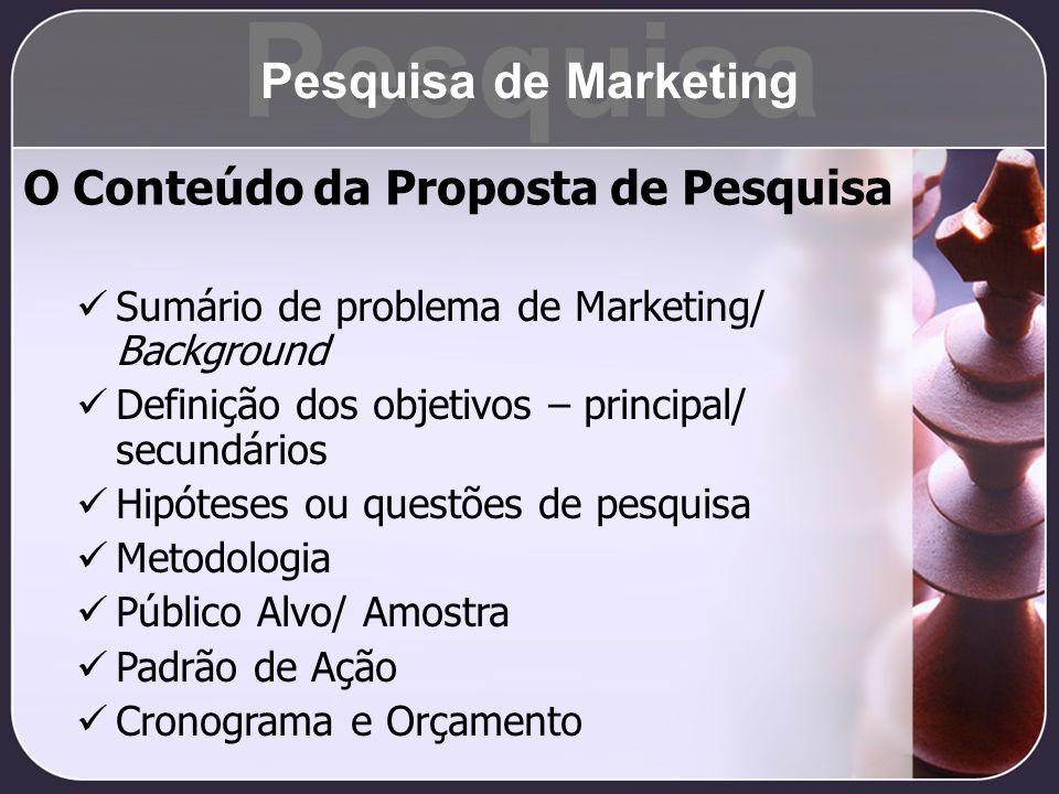 Pesquisa Pesquisa de Marketing O Conteúdo da Proposta de Pesquisa