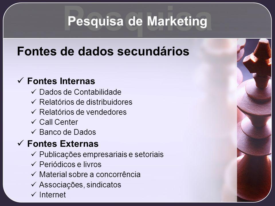 Pesquisa Pesquisa de Marketing Fontes de dados secundários