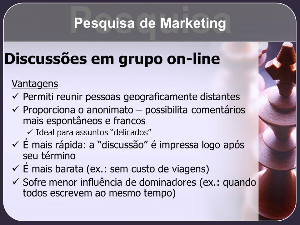 Pesquisa Discussões em grupo on-line Pesquisa de Marketing Vantagens