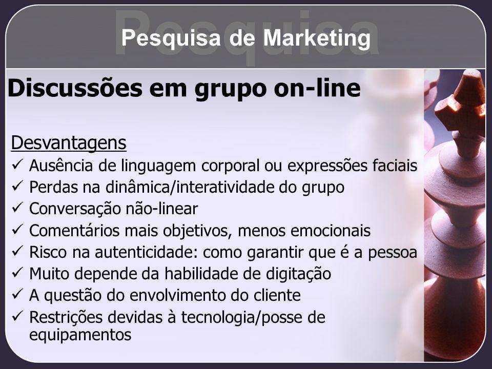 Pesquisa Discussões em grupo on-line Pesquisa de Marketing