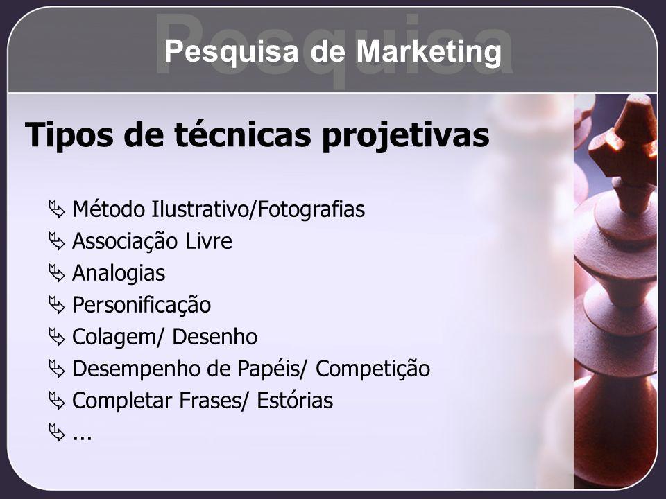 Pesquisa Tipos de técnicas projetivas Pesquisa de Marketing