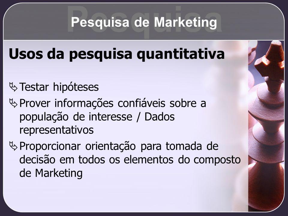 Pesquisa Usos da pesquisa quantitativa Pesquisa de Marketing