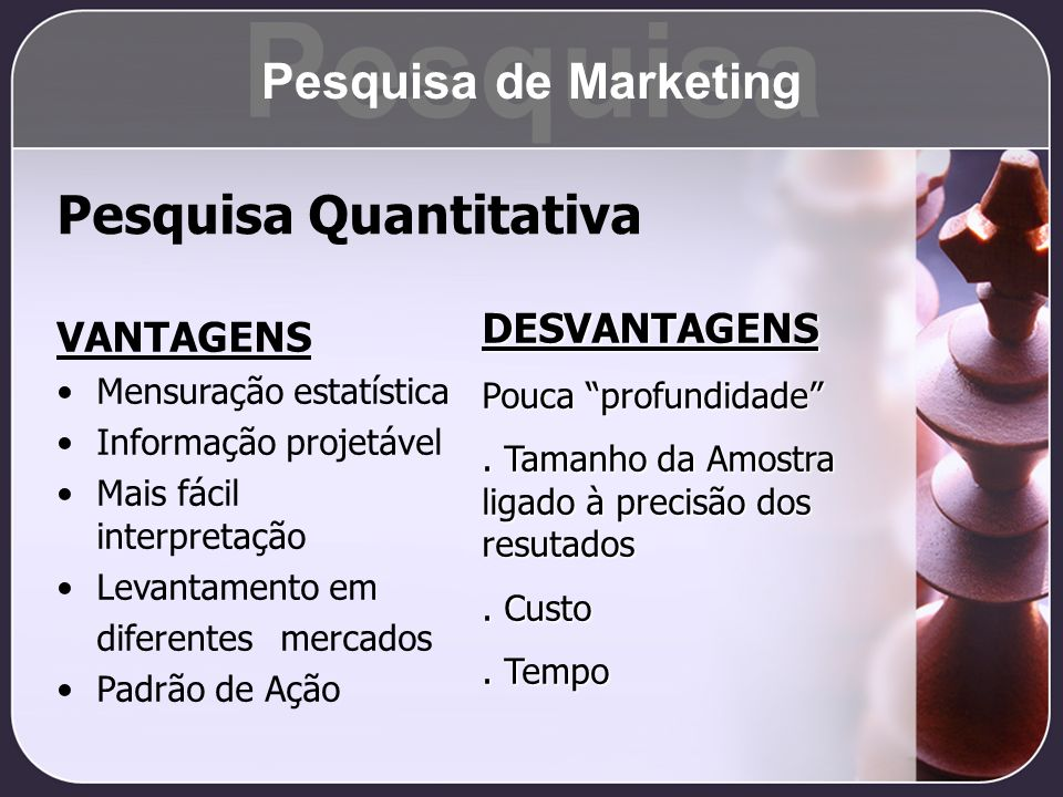 Pesquisa Pesquisa Quantitativa Pesquisa de Marketing DESVANTAGENS