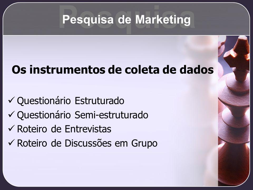 Pesquisa Pesquisa de Marketing Os instrumentos de coleta de dados