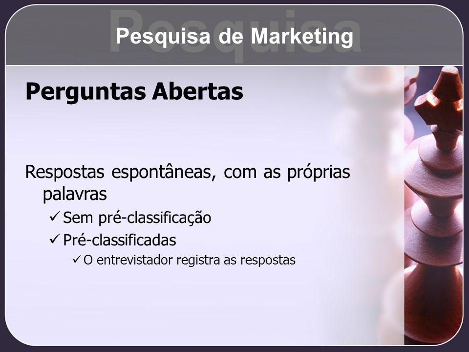 Pesquisa Perguntas Abertas Pesquisa de Marketing