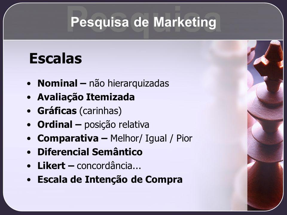 Pesquisa Escalas Pesquisa de Marketing Nominal – não hierarquizadas