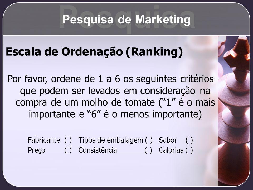 Pesquisa Pesquisa de Marketing Escala de Ordenação (Ranking)