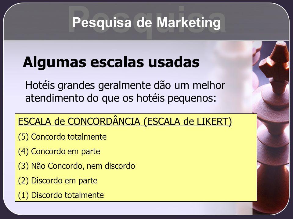 Pesquisa Algumas escalas usadas Pesquisa de Marketing