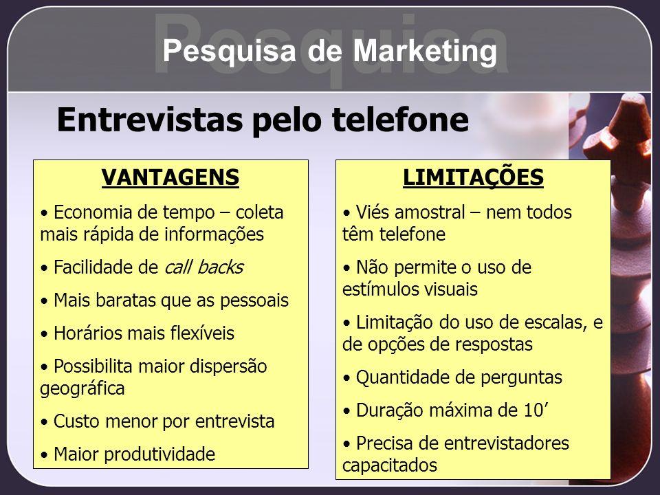 Pesquisa Entrevistas pelo telefone Pesquisa de Marketing VANTAGENS