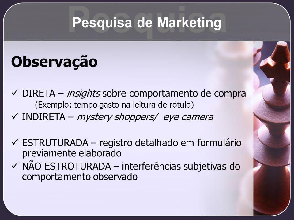 Pesquisa Observação Pesquisa de Marketing