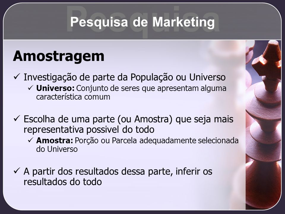 Pesquisa Amostragem Pesquisa de Marketing