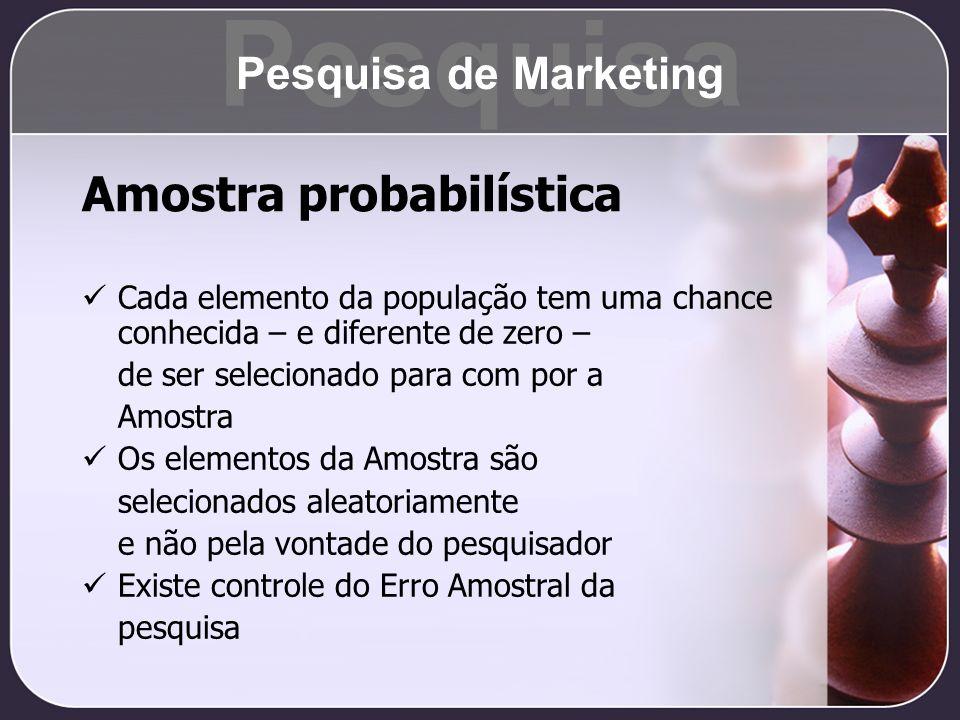 Pesquisa Amostra probabilística Pesquisa de Marketing
