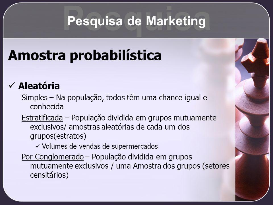Pesquisa Amostra probabilística Pesquisa de Marketing Aleatória