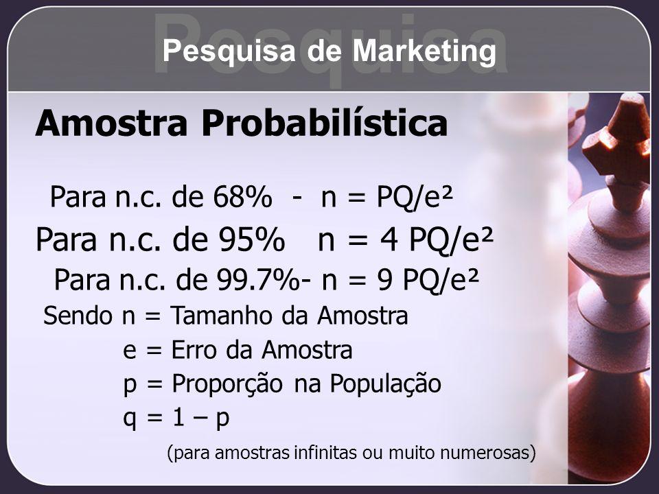 Pesquisa Amostra Probabilística Para n.c. de 95% n = 4 PQ/e²