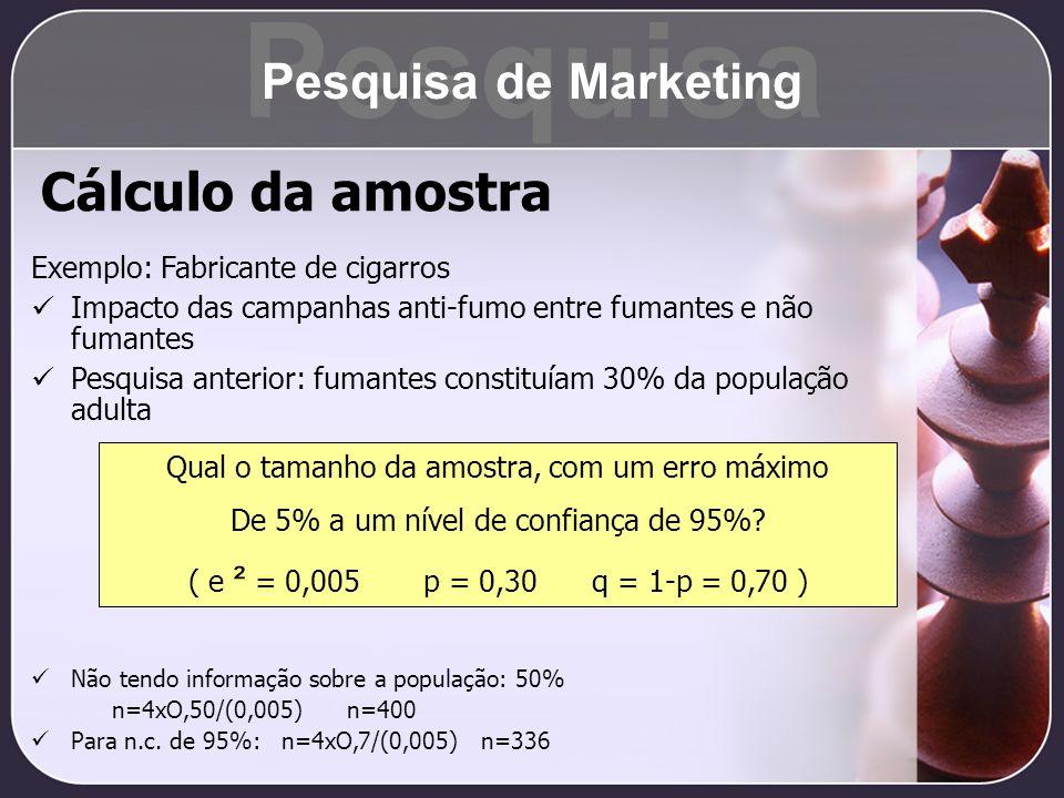 Pesquisa Cálculo da amostra Pesquisa de Marketing