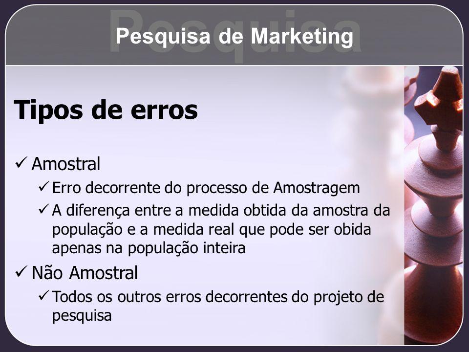 Pesquisa Tipos de erros Pesquisa de Marketing Amostral Não Amostral