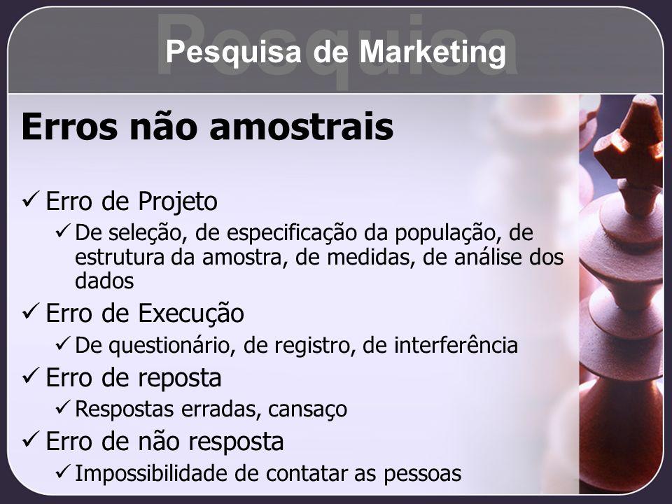 Pesquisa Erros não amostrais Pesquisa de Marketing Erro de Projeto