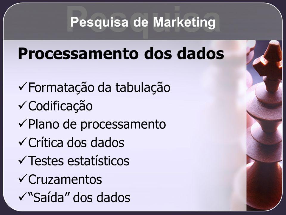 Pesquisa Processamento dos dados Pesquisa de Marketing