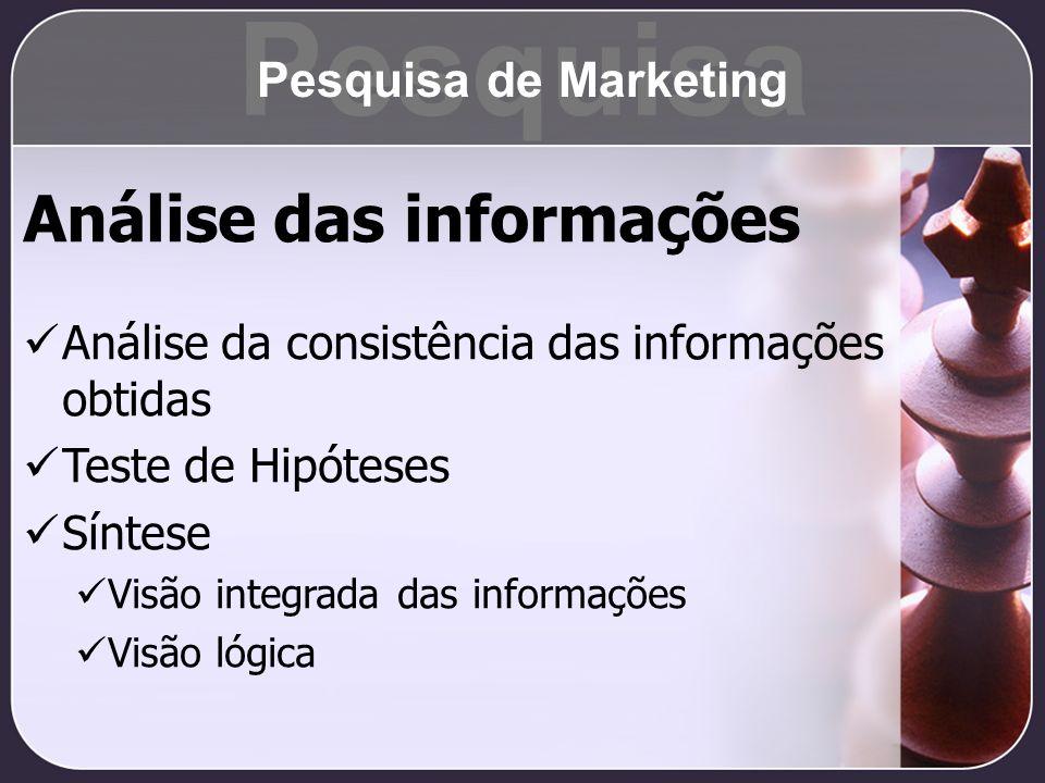 Pesquisa Análise das informações Pesquisa de Marketing