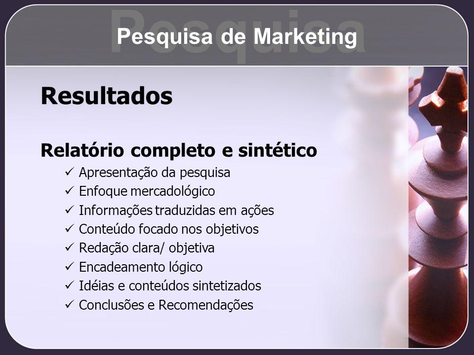 Pesquisa Resultados Pesquisa de Marketing