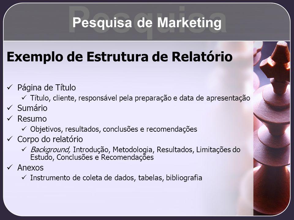 Pesquisa Pesquisa de Marketing Exemplo de Estrutura de Relatório