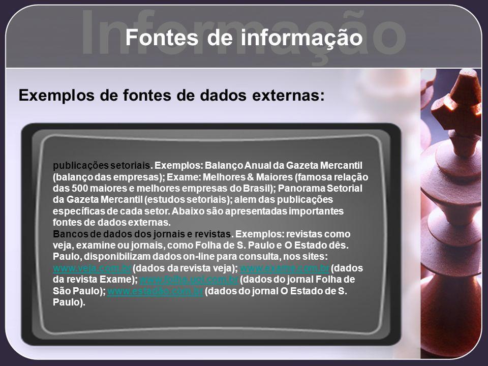 Informação Fontes de informação Exemplos de fontes de dados externas: