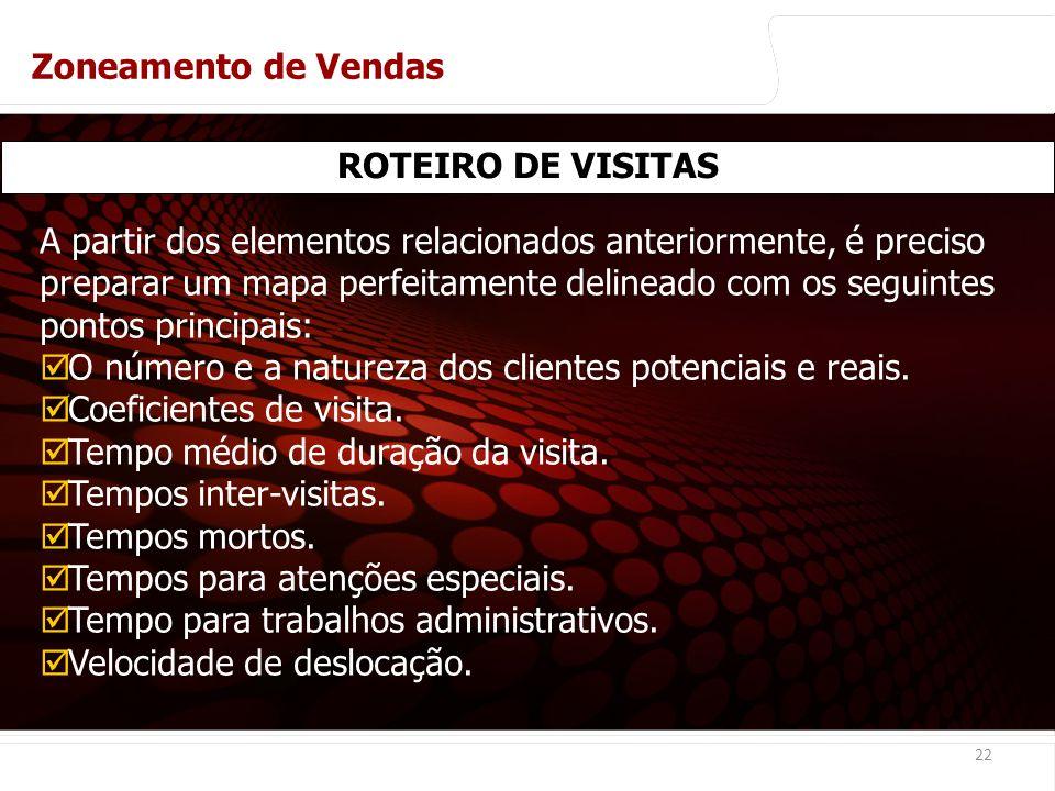 Zoneamento de Vendas ROTEIRO DE VISITAS.