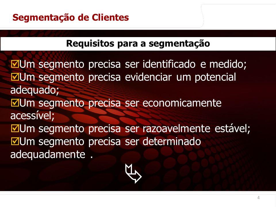 Requisitos para a segmentação