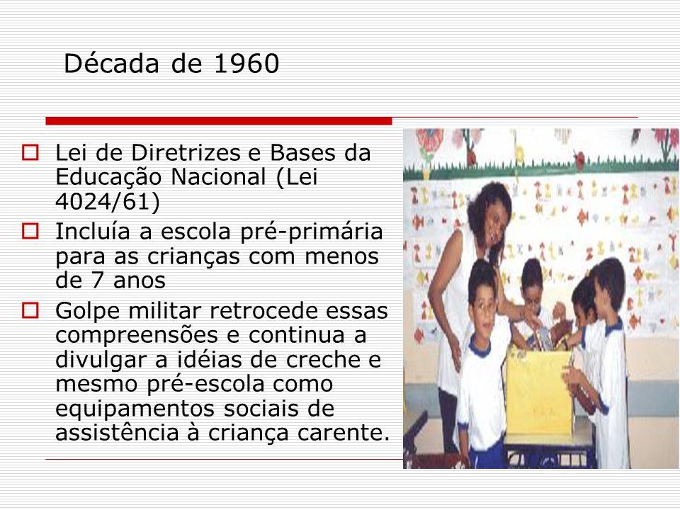 Década de 1960 Lei de Diretrizes e Bases da Educação Nacional (Lei 4024/61) Incluía a escola pré-primária para as crianças com menos de 7 anos.