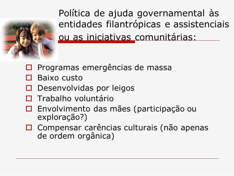 Política de ajuda governamental às entidades filantrópicas e assistenciais ou as iniciativas comunitárias: