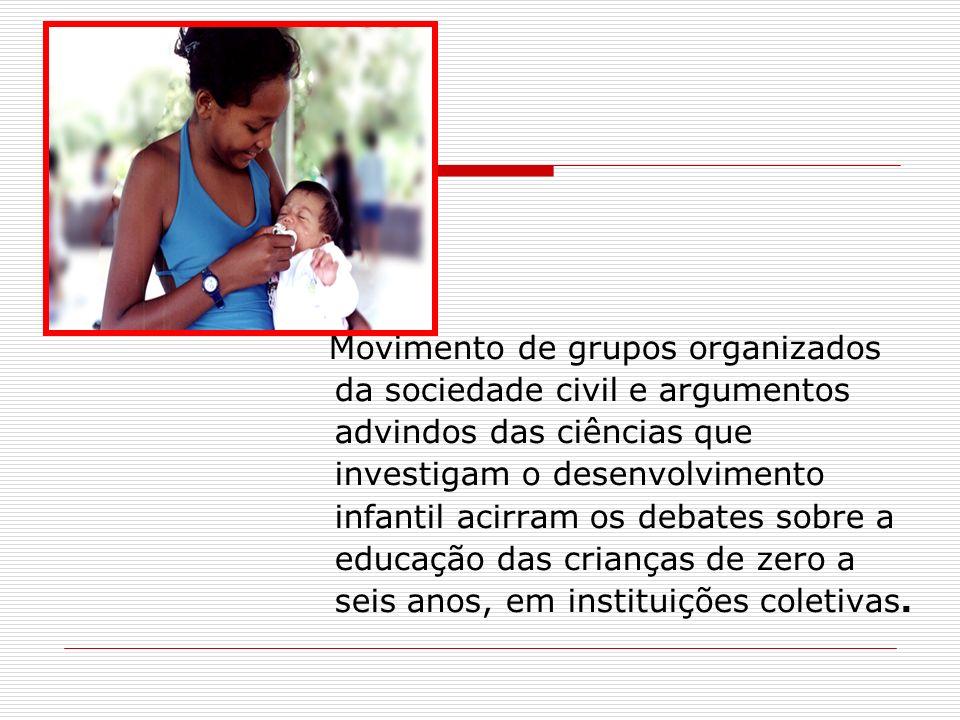 Movimento de grupos organizados da sociedade civil e argumentos advindos das ciências que investigam o desenvolvimento infantil acirram os debates sobre a educação das crianças de zero a seis anos, em instituições coletivas.
