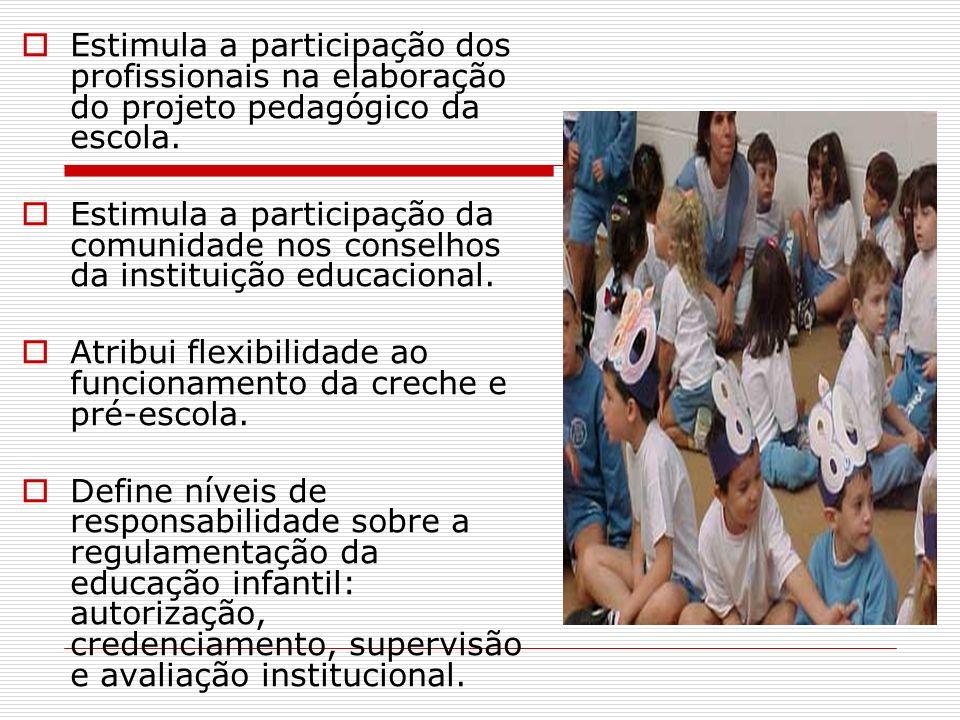 Estimula a participação dos profissionais na elaboração do projeto pedagógico da escola.