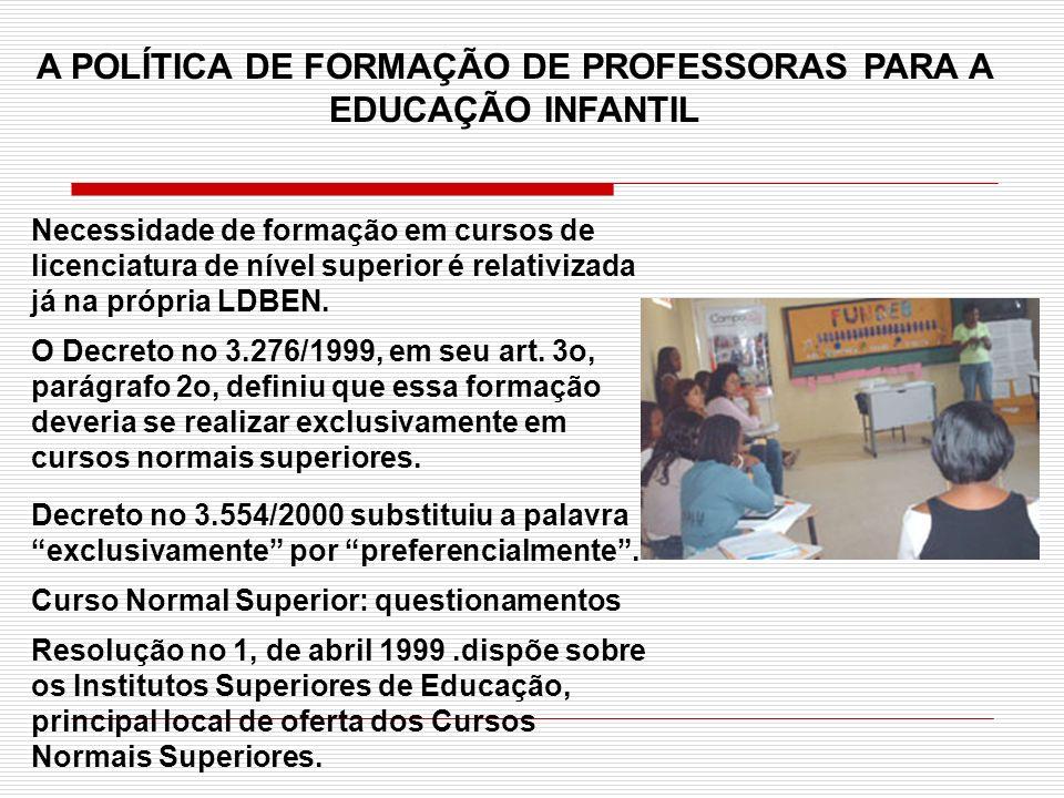A POLÍTICA DE FORMAÇÃO DE PROFESSORAS PARA A EDUCAÇÃO INFANTIL