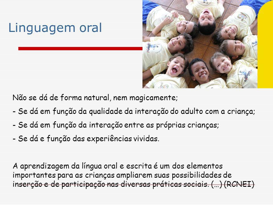 Linguagem oral Não se dá de forma natural, nem magicamente;