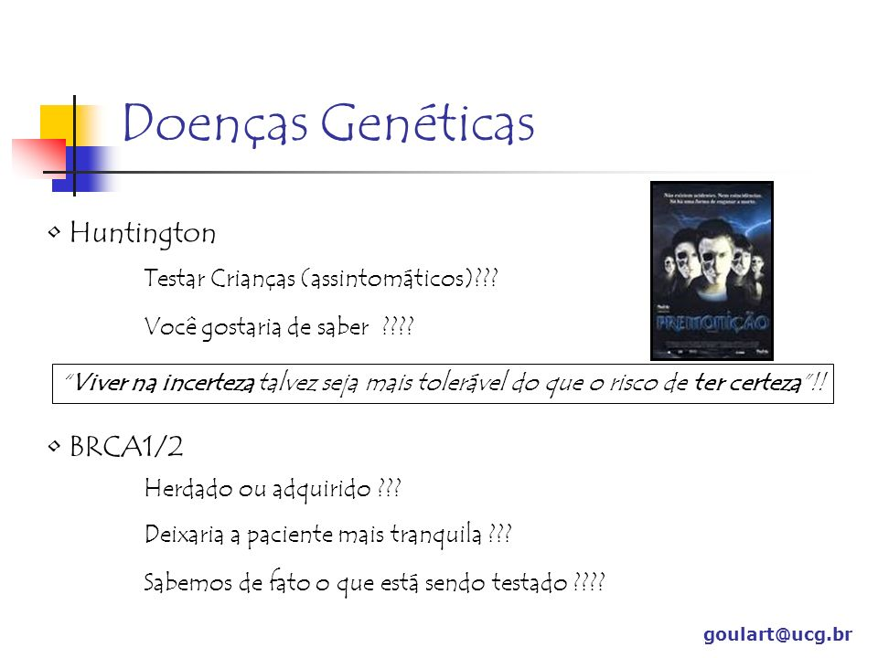 Doenças Genéticas Huntington BRCA1/2
