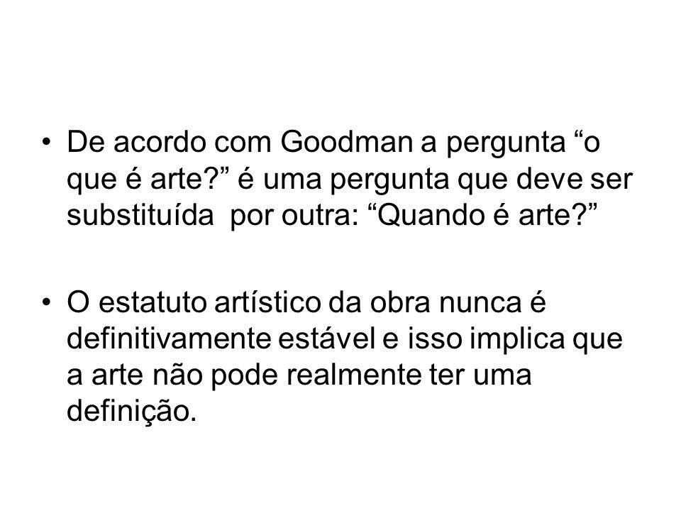 De acordo com Goodman a pergunta o que é arte