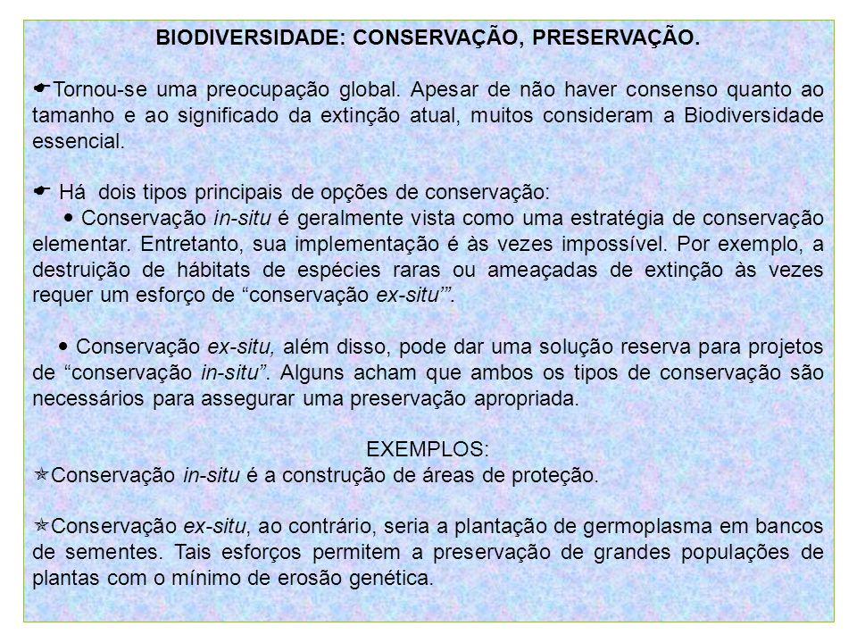 BIODIVERSIDADE: CONSERVAÇÃO, PRESERVAÇÃO.