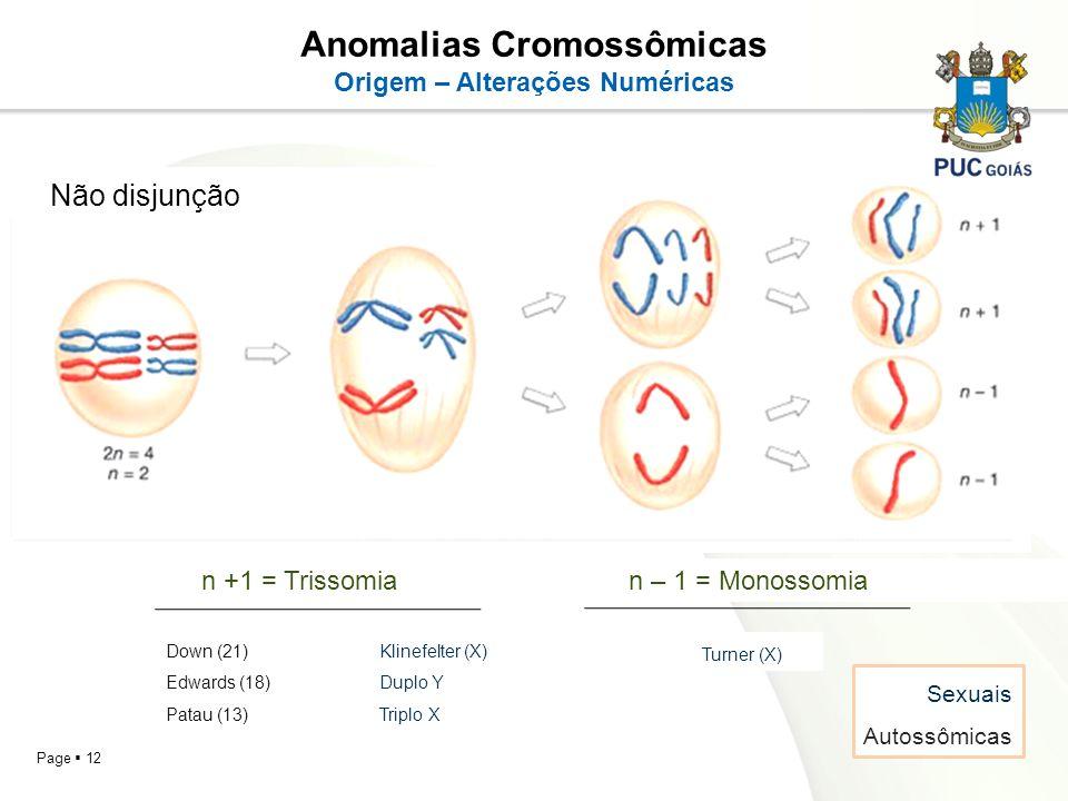 Anomalias Cromossômicas Origem – Alterações Numéricas