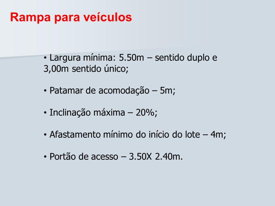 Rampa para veículosLargura mínima: 5.50m – sentido duplo e 3,00m sentido único; Patamar de acomodação – 5m;