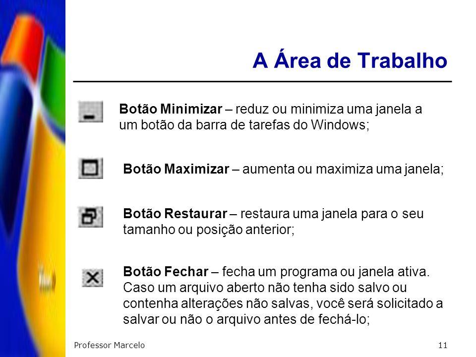 A Área de TrabalhoBotão Minimizar – reduz ou minimiza uma janela a um botão da barra de tarefas do Windows;