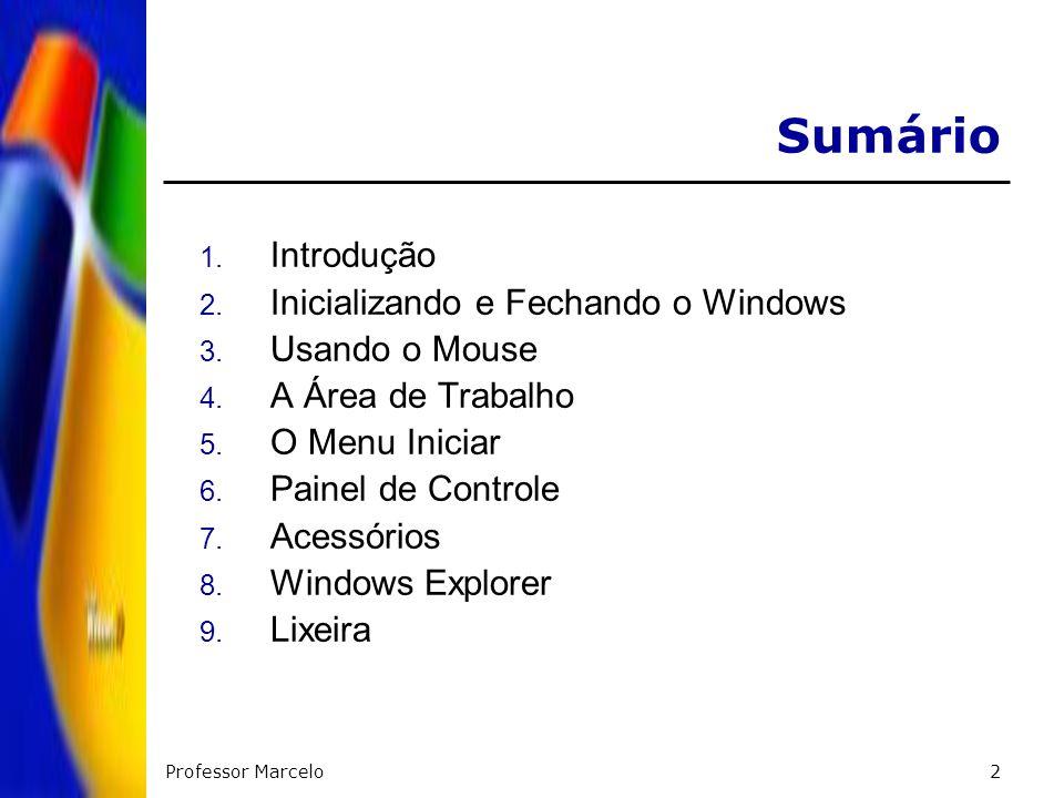 Sumário Introdução Inicializando e Fechando o Windows Usando o Mouse