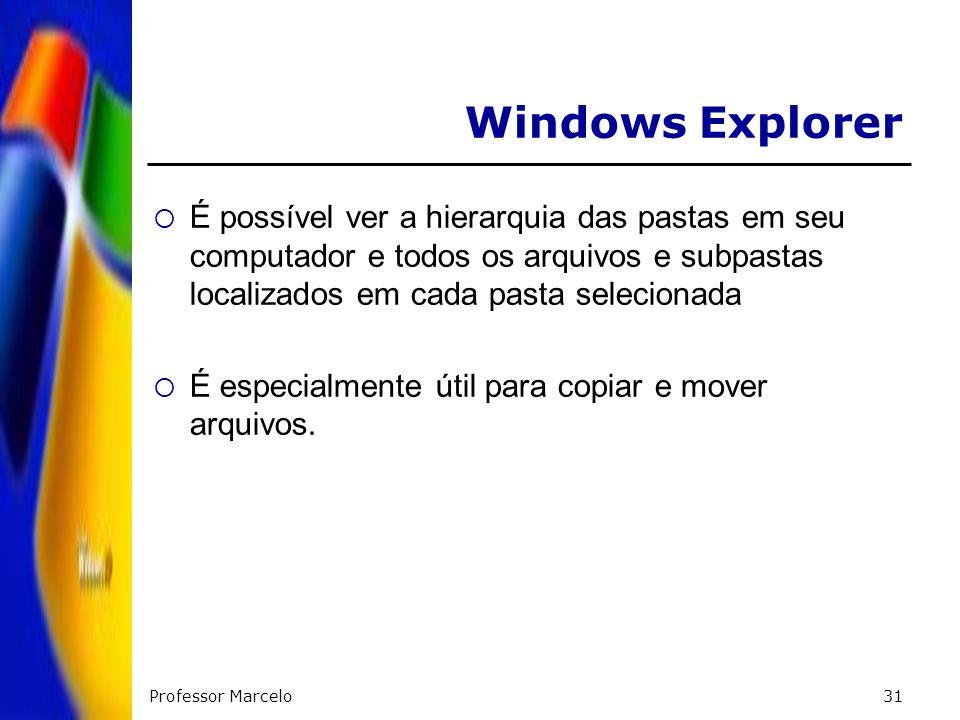 Windows ExplorerÉ possível ver a hierarquia das pastas em seu computador e todos os arquivos e subpastas localizados em cada pasta selecionada.