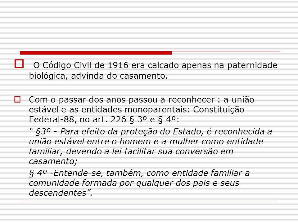 O Código Civil de 1916 era calcado apenas na paternidade biológica, advinda do casamento.